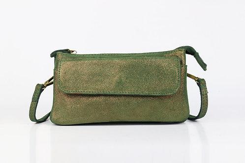CRAZY LOU, Pola pochette pailletée cuir, vert