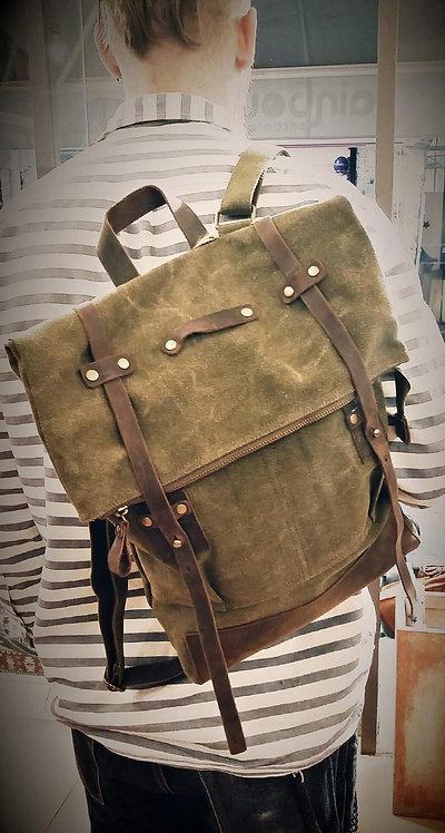 CRAZY LOU, Copper sac à dos toile et cuir, kaki