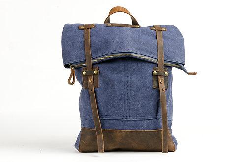 CRAZY LOU, Copper sac à dos toile et cuir, marine