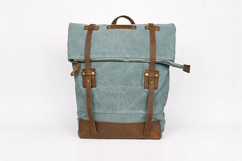 CRAZY LOU, Copper sac à dos toile et cuir, vert de gris