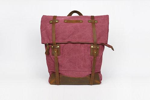 CRAZY LOU, Copper sac à dos toile et cuir, cassis