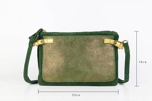 CRAZY LOU, Dora pochette cuir, vert