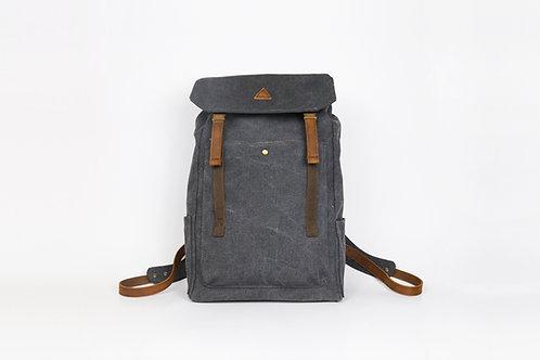 CRAZY LOU, Aspen sac à dos toile et cuir, noir
