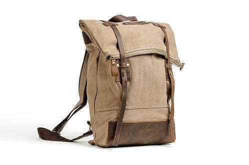 CRAZY LOU, Copper sac à dos toile et cuir, taupe