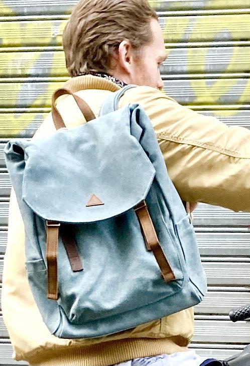 CRAZY LOU, Aspen sac à dos toile et cuir, vert de gris