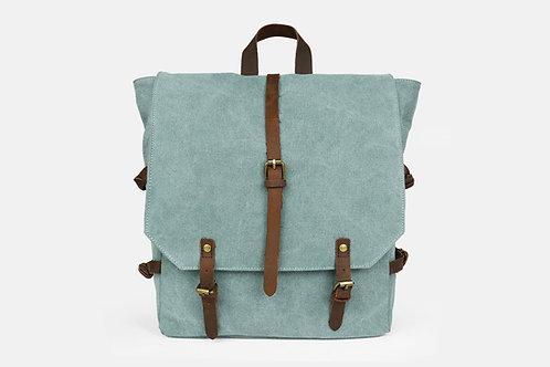CRAZY LOU, Vail sac à dos toile et cuir, vert de gris