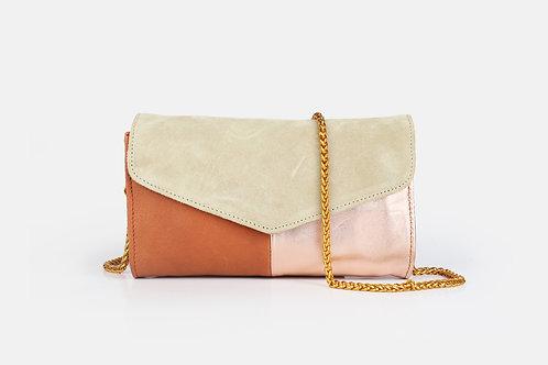 CRAZY LOU, Mely sac-pochette cuir, brique