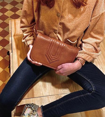 CRAZY LOU, Isadora sac trotteur vintage-cut, cuir,camel