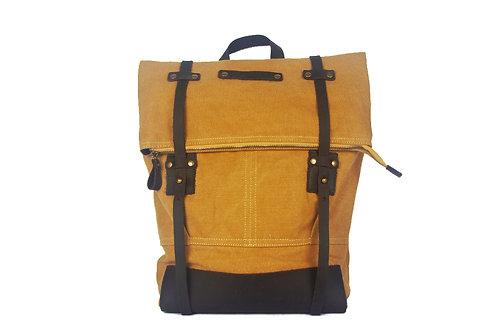 CRAZY LOU, Copper sac à dos toile et cuir, moutarde