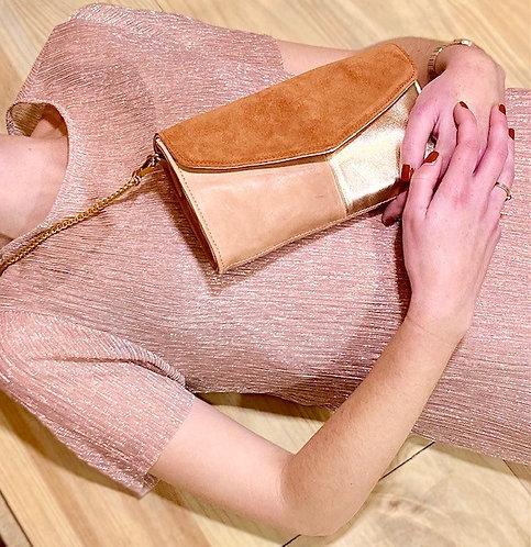 CRAZY LOU, Mely sac-pochette cuir, blush