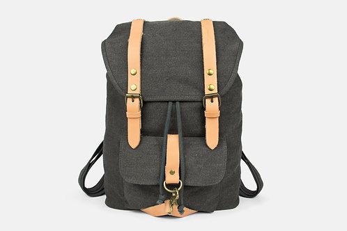 CRAZY LOU, Alta sac à dos toile et cuir, noir