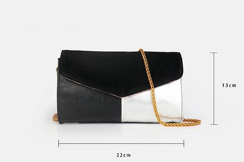 CRAZY LOU, Mely sac-pochette cuir, noir