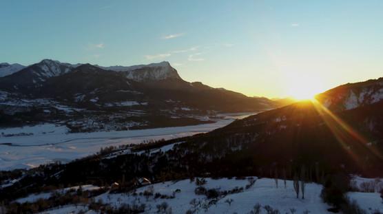 La Ferme du Riou Clar en hiver vue au drone
