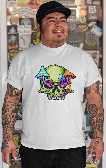 Trippy Mushroom Skull Logo Illustration Short-Sleeve Unisex T-Shirt