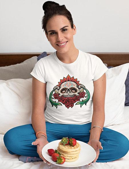 Mexican Sugar Skull Muertos with Flowers Short-Sleeve Unisex T-Shirt