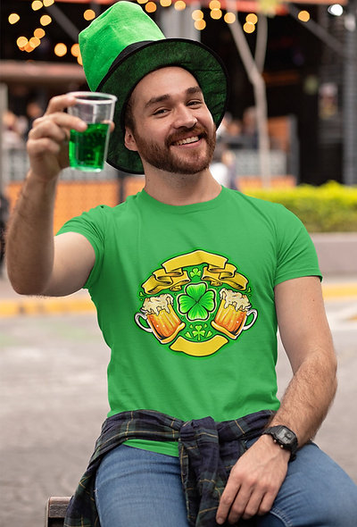 Two Beer Glasses Cheers St. Patrick Day Short-Sleeve Unisex T-Shirt