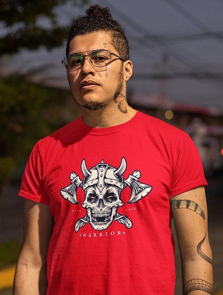 Skull Viking Warrior With Axes And Helmet Short-Sleeve Unisex T-Shirt