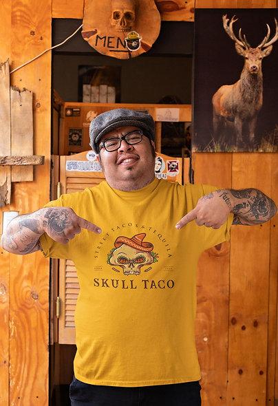 Skull Taco Food Mexican Restaurant Logo Mascot Short-Sleeve Unisex T-Shirt
