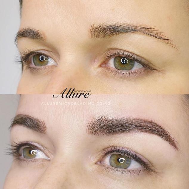 Eyeliner tattoo + Combination brows