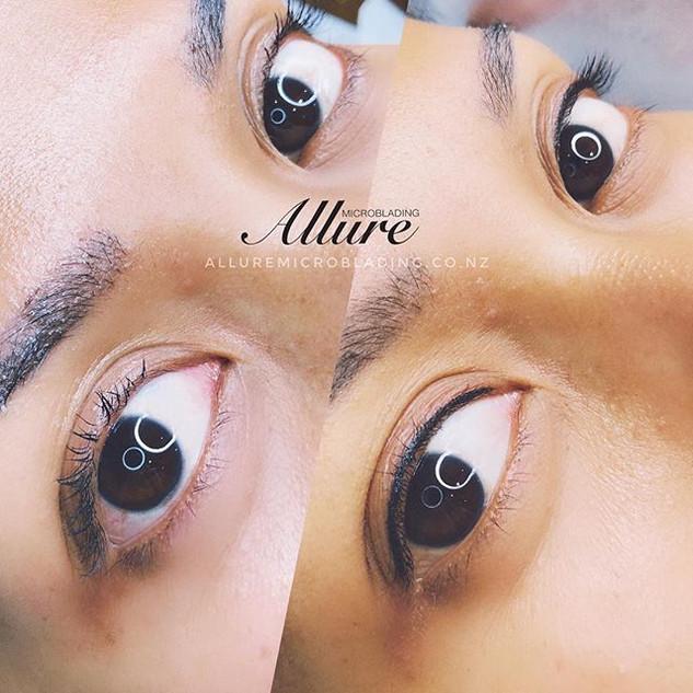 Fresh eyelash liner tattoo. The liner is