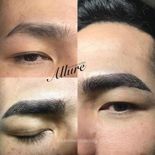 Microblading eyebrow for men. Client wan