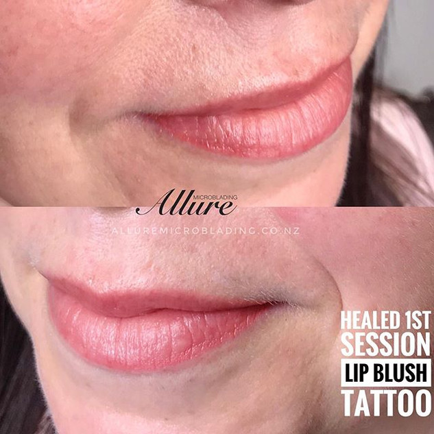 Healed Lip blush tattoo after 4 weeks, 1