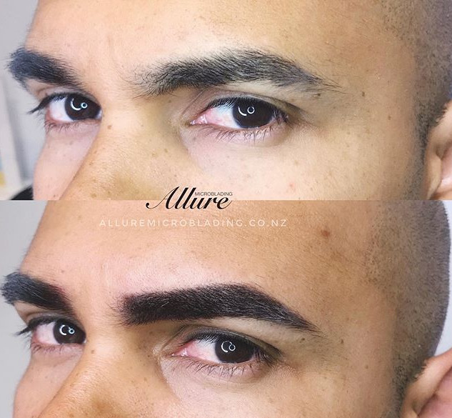 Microshading, powder brow for male. The