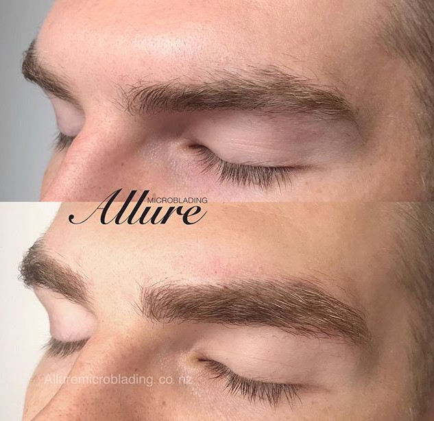 Microblading eyebrow for men. Added some