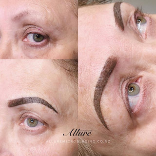 Powder brows on mature skin , ready to g