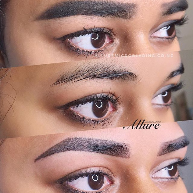 Client with her makeup, bare brows and o