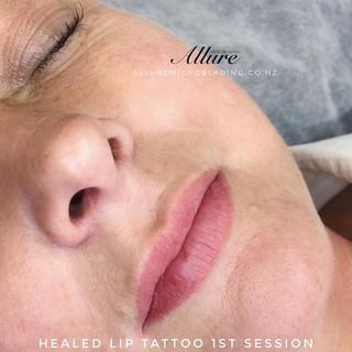 Healed Lip blush tattoo after 4 months,