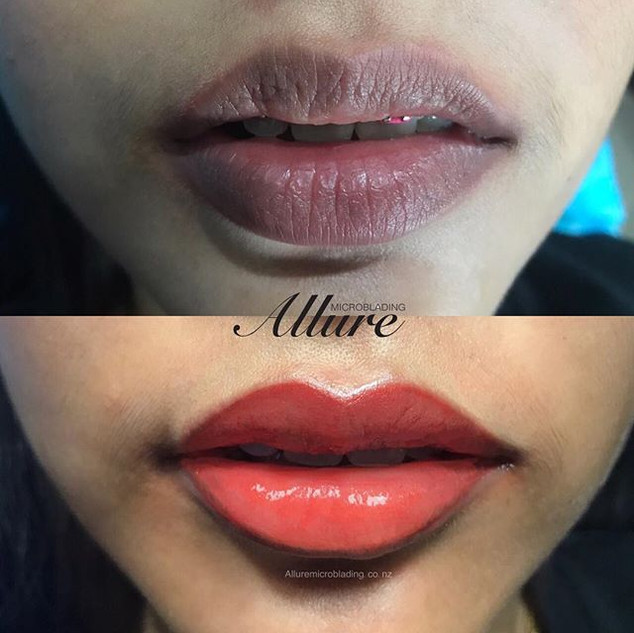 Candy lips, semi-permanent lips tattoo._