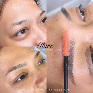 Healed result, microblading brow 1st ses