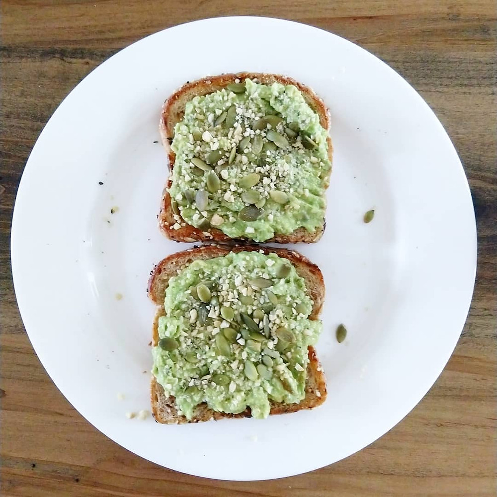 Avocado Toast on Multigrain Bread with Pumpkin Seeds and Hemp Seeds