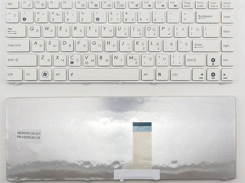 Клавиатура для ноутбука Asus A42, K42, U36 белая с рамкой