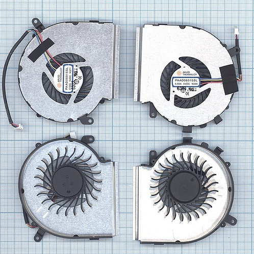 Вентилятор для ноутбука MSI GE62VR, GE72VR, GP72VR 4pin (пара)
