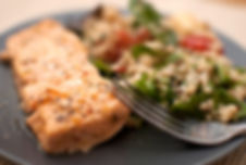 Dr Phil Sheldon's Quinoa and Walnut Salad with Baked Salmon
