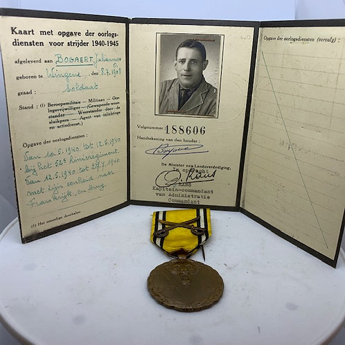 Belgian WWII Commemorative Medal & Identity card
