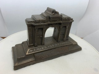 Miniature Ypres Menin Gate - Bronze coated resin modern souvenir.