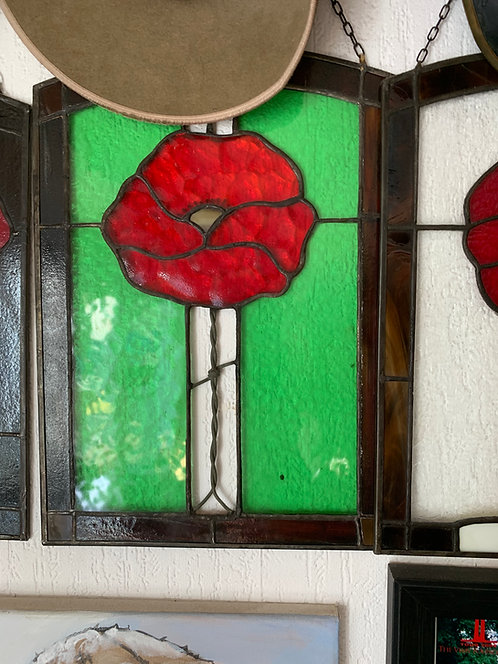 Stained Glass poppy, green