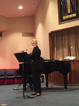 Sally Grant performing at members recital, 2015