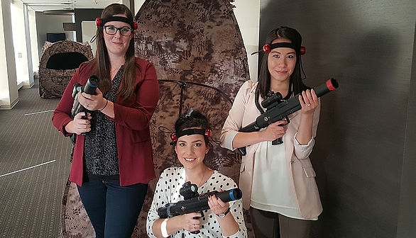 corporate team building laser tag played in the office