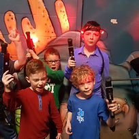 Kids at a laser tag birthday party