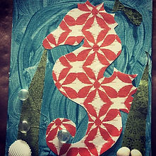 Seahorse art created at Yoga and Art cam