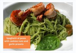 Pesto pasta with prawns at Villa Nilaya