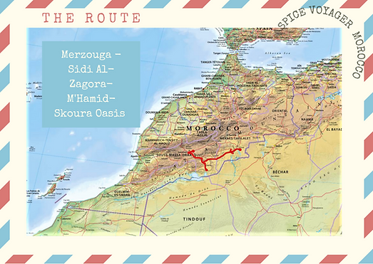 morocco route map walk with postcard edg
