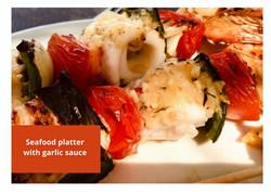 seafood platter with garlic sauce at Villa Nilaya