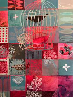 Cate Edwards painting in pink