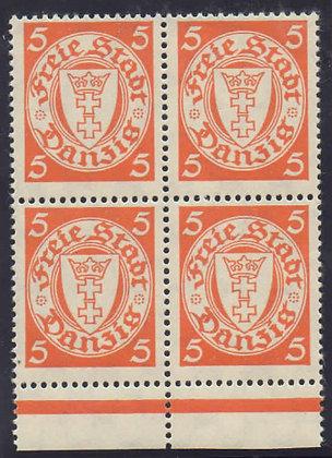 Danzig Mi.-Nr. 193 y X Attest Viererblock postfrisch (Michel 2.000€)