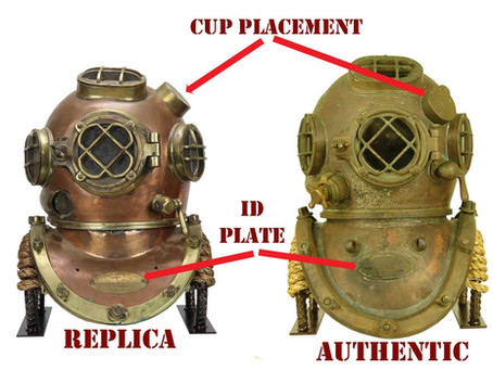A quick guide to identifying real vs. replica US Navy Mark V diving helmets.